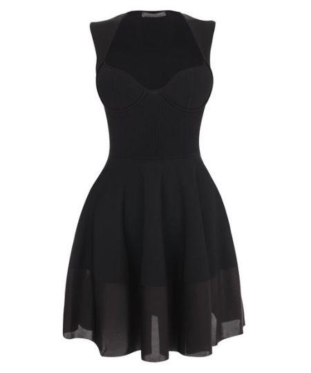 Alexander McQueen - Black Exposed Bustier Mini-Dress