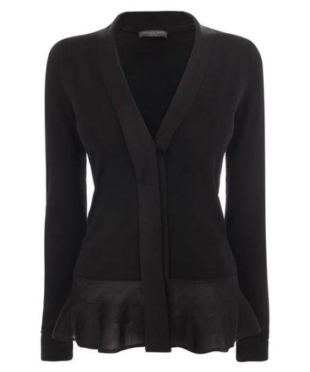 Alexander McQueen - Black Fine Wool Peplum Jumper