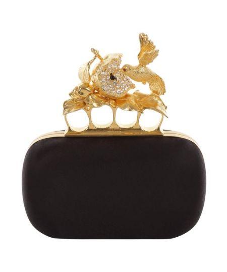 Alexander McQueen - Black Satin Apple & Hummingbird Skull Knucklebox Clutch
