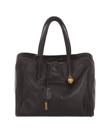 Alexander McQueen - Black Skull Padlock Top Handle Bag