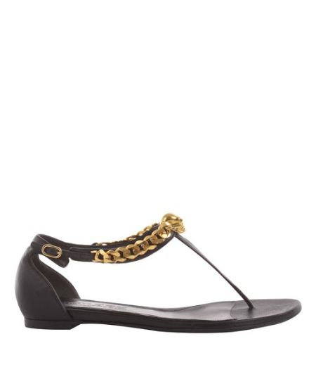 Alexander McQueen - Black T-Bar Skull Chain Flat Sandal