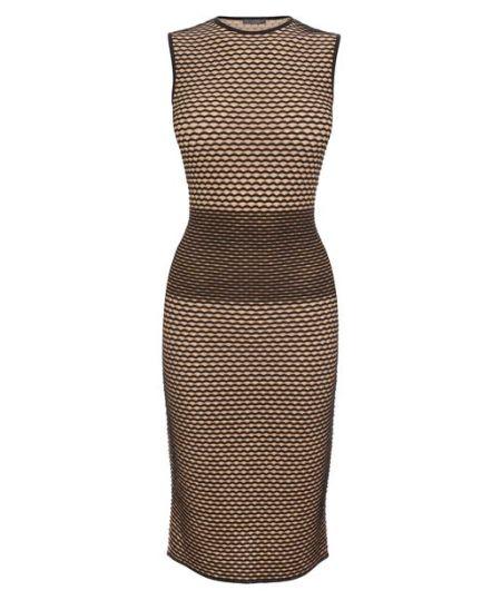 Alexander McQueen - Flesh 3D Wave Stripe Jacquard Knit Pencil Dress