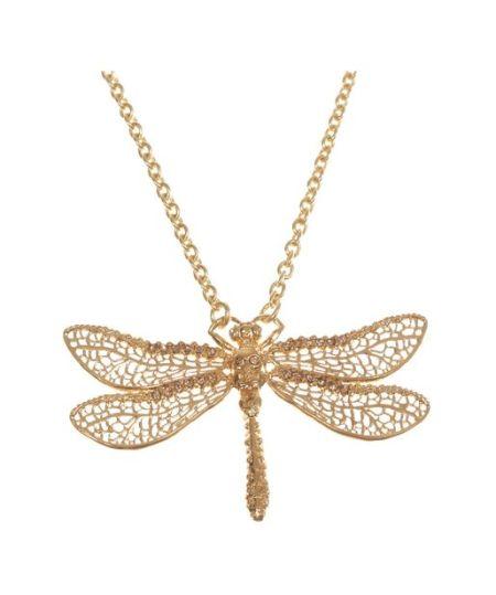 Alexander McQueen - Gold Skull Dragonfly Pendant