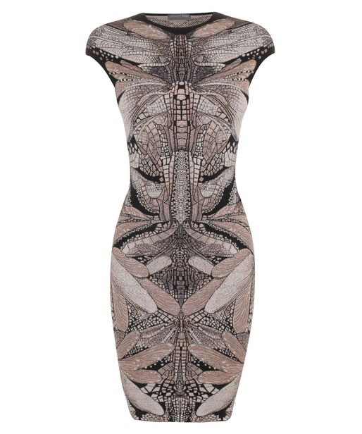 Alexander McQueen - Ivory ,Silver Dragonfly Wings Puckering Jacquard Mini-Dress