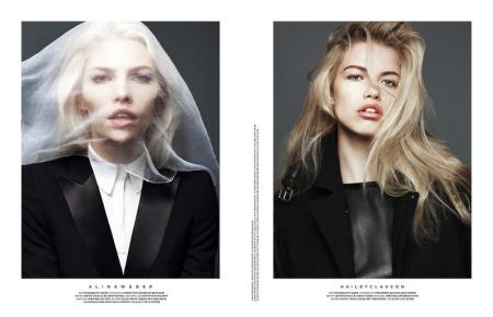 Hailey Clauson & Aline Weber for Stockholm Magazine - Snow Beauty - May 2012