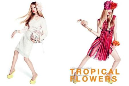Hailey Clauson for Vogue Japan - Tropical Flowers - April 2012